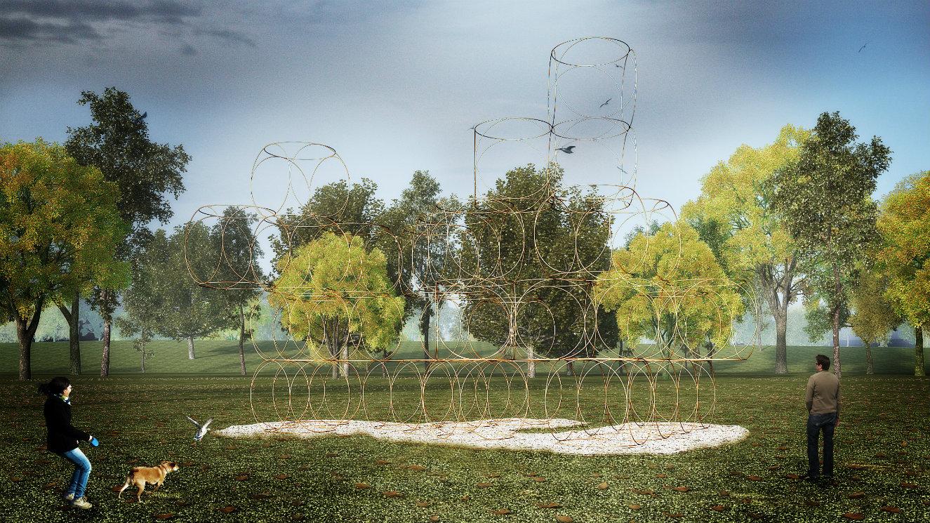 'Casa Veraniega' diseñada por Yona Friedman. Render © AECOM