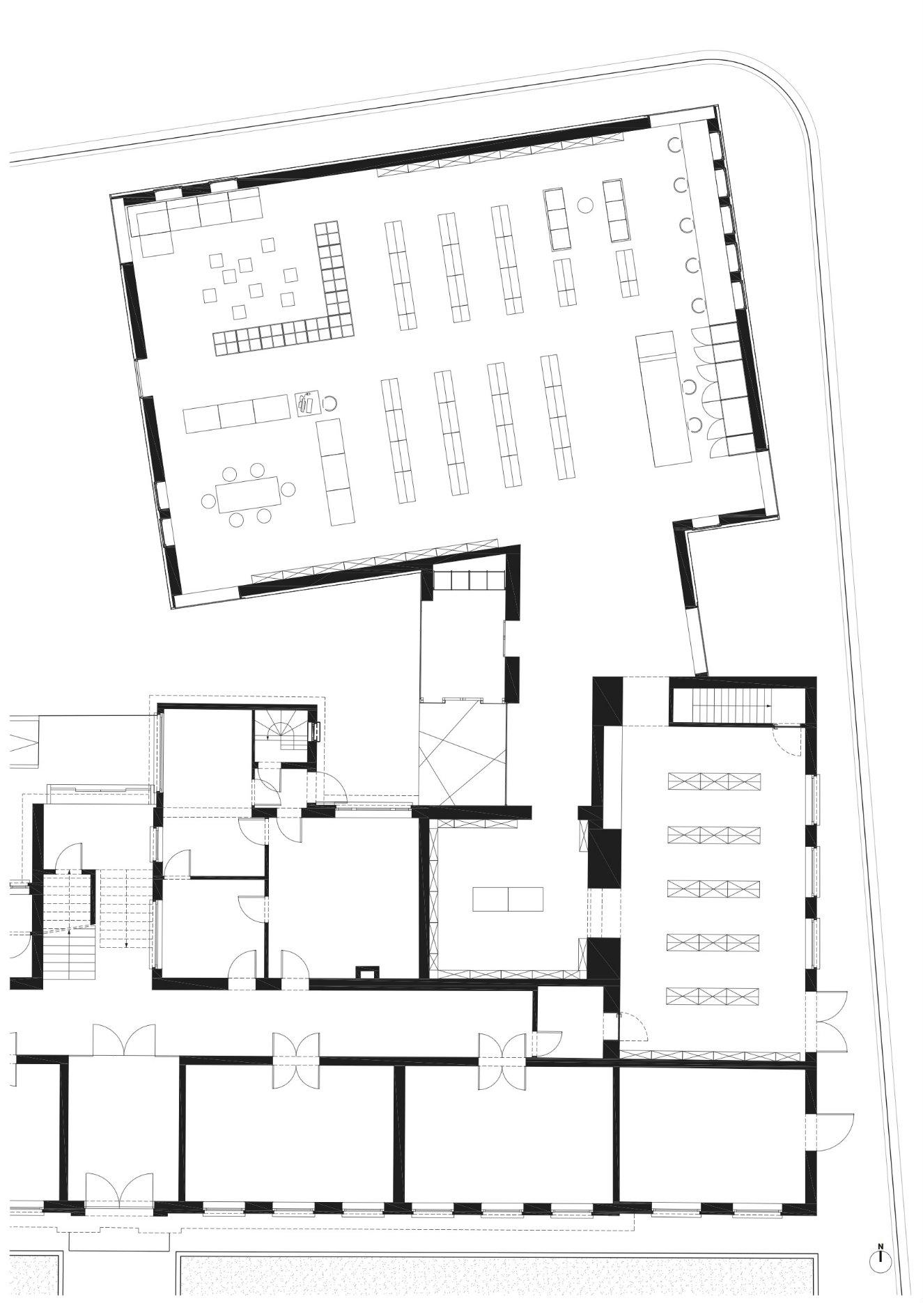 Plano de la biblioteca. © Studio Farris Architects.