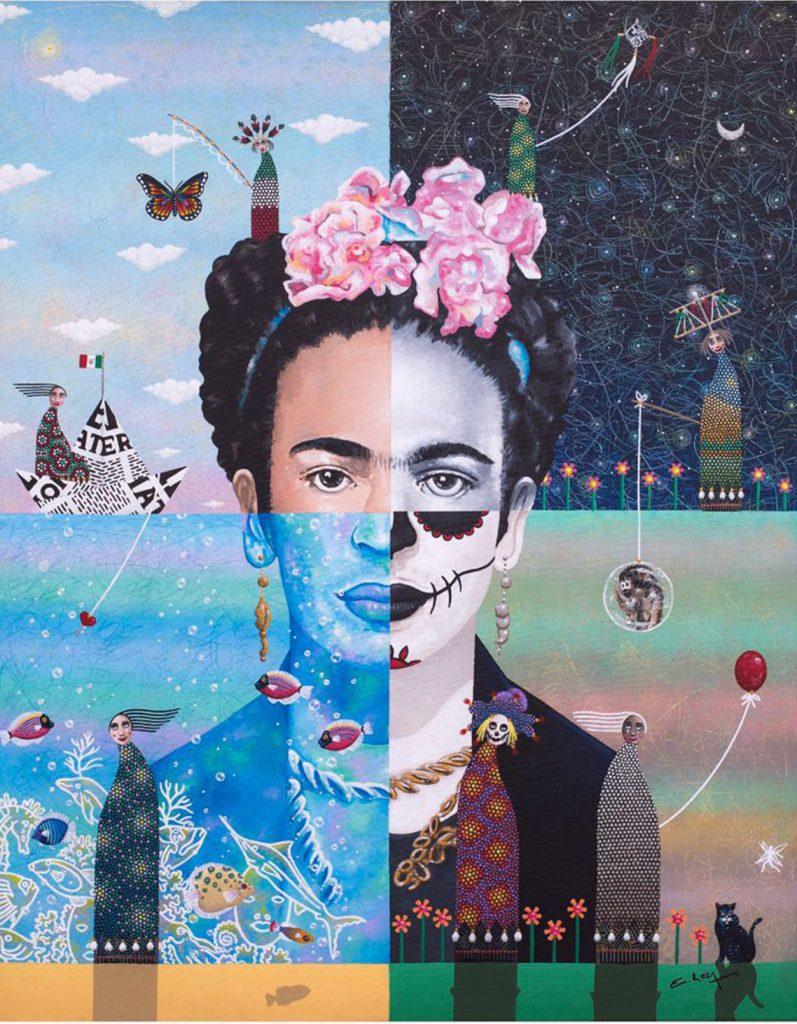 Autor: Enrique Loza. Título: Descomponiendo a Frida. Técnica: Acrílico sobre tela Formato: 80 x 100 cm. Descomponiendo a Frida