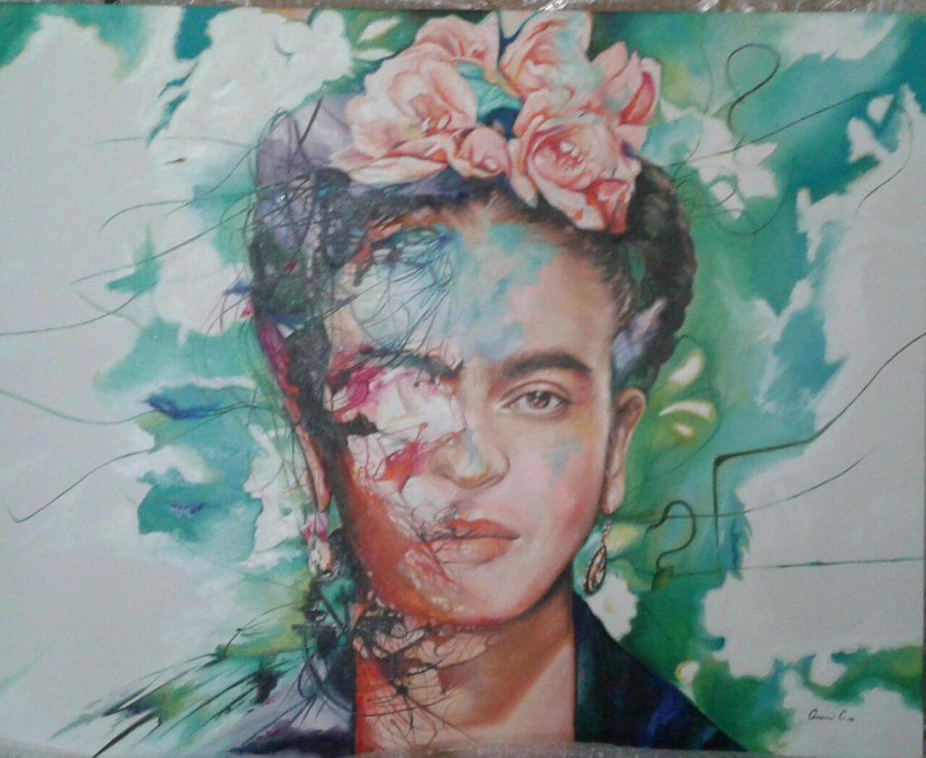 Autor: Aram Cortés. Título: Mi Frida. Técnica: Óleo sobre tela. Formato: 80 x 100 cm.