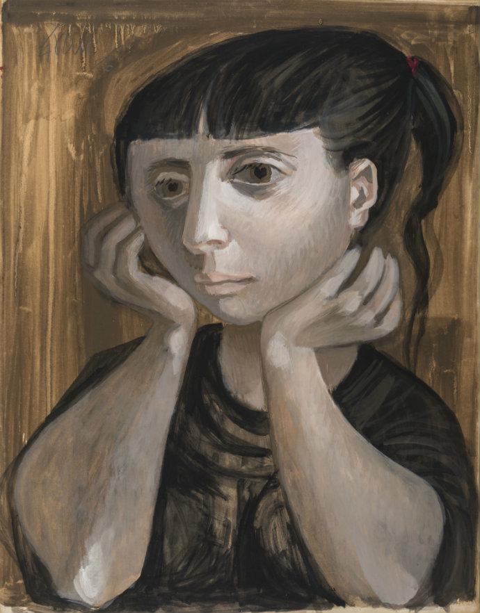Enrique Gra. Retrato femenino, gouache sobre papel. 57 x 44.5 cm. 1956.