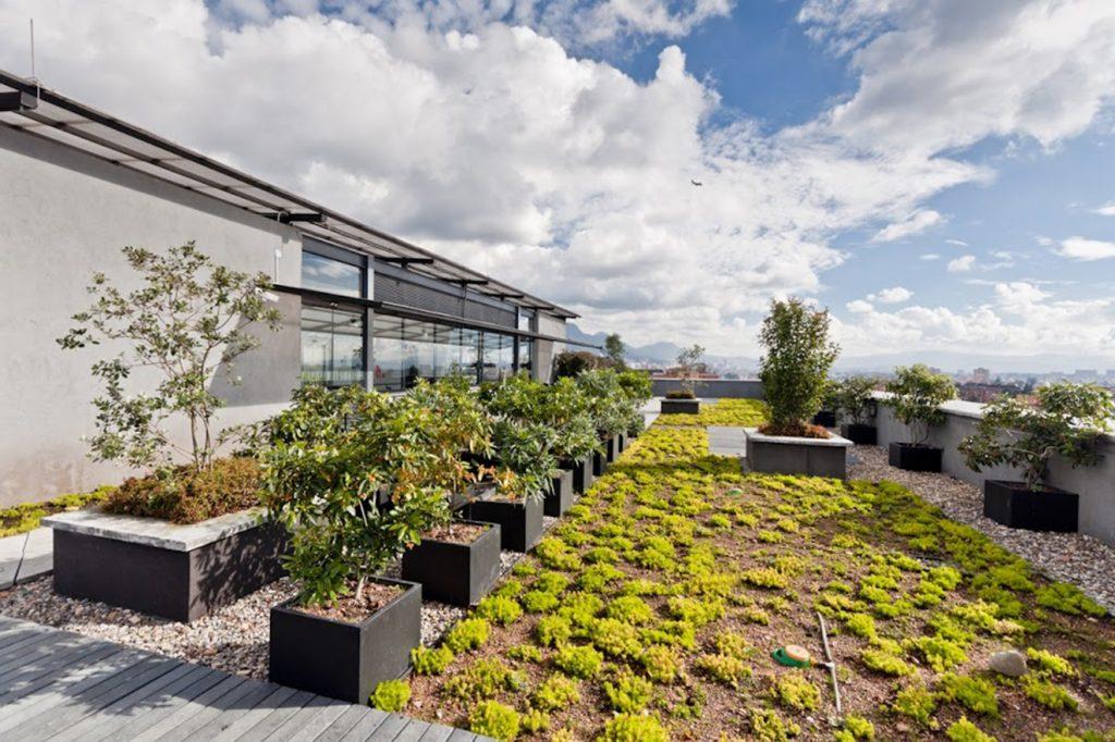 Jardín en terraza de Logic II. Fotografía: cortesía Congreso Mundial de Infraestructura Verde.