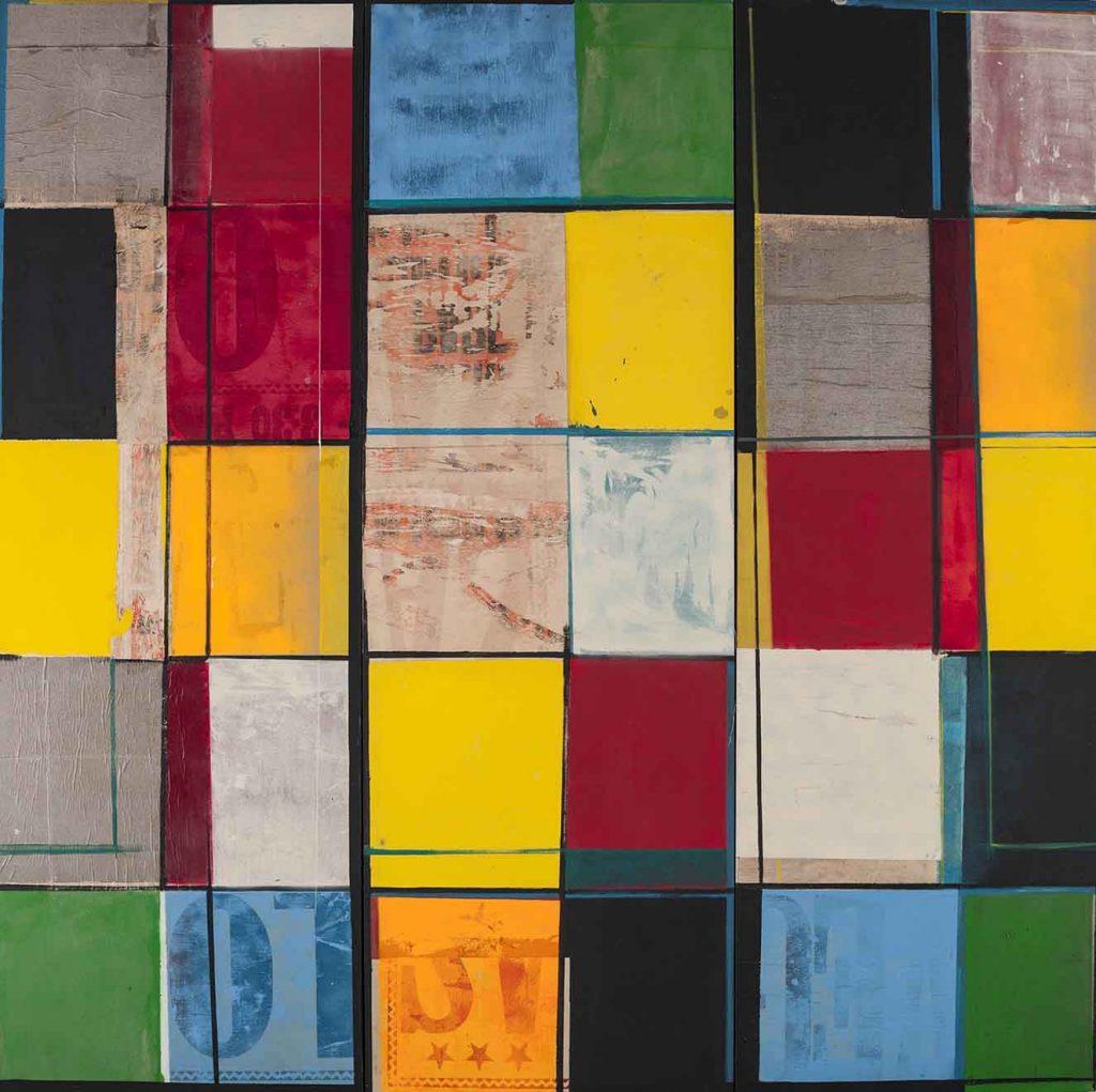 Eje Cafetero, de la serie Por Pintar, técnica mixta sobre tela, 1996. Tríptico: 240 x 80 cm cada pieza.