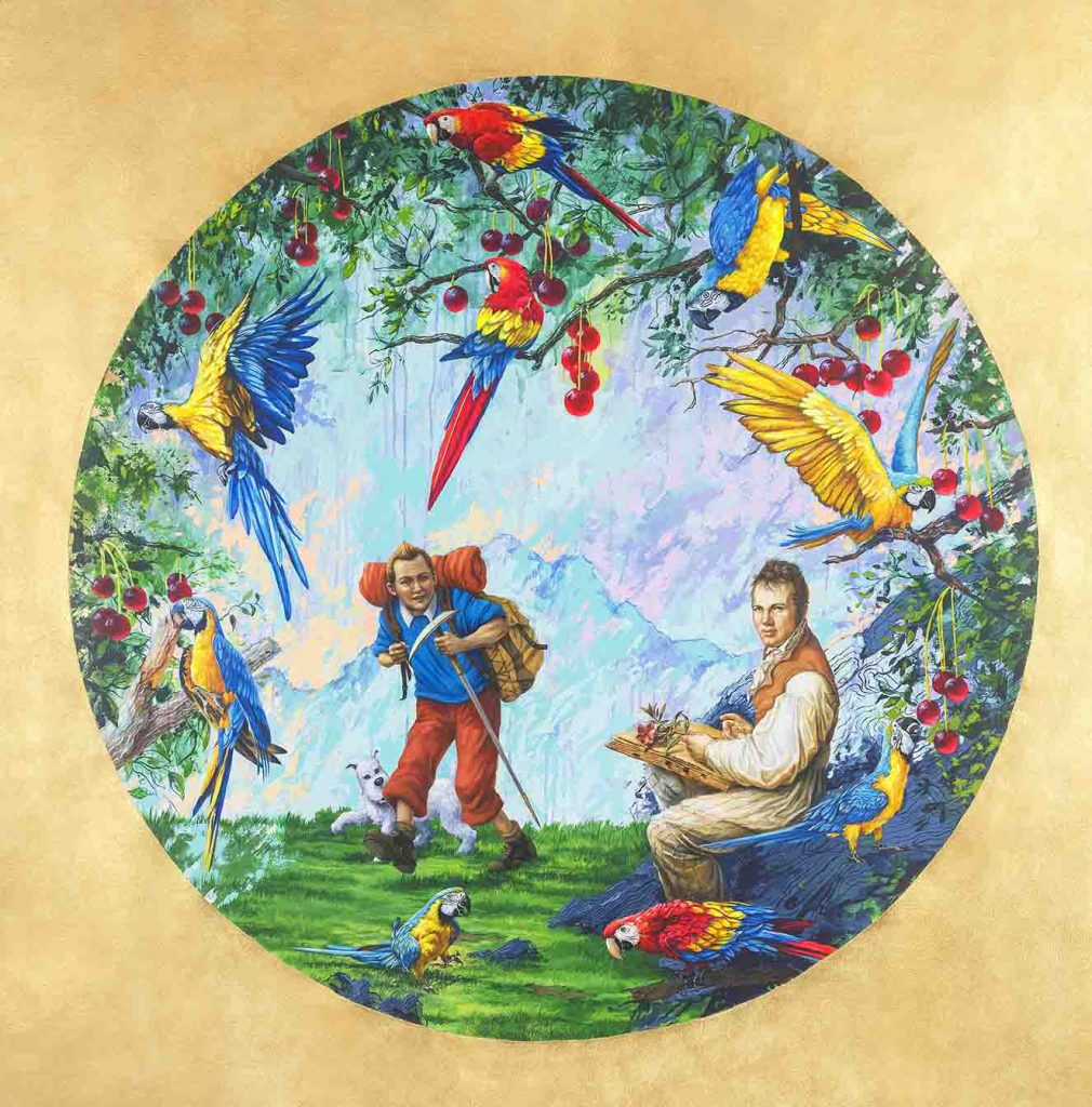 Tintin y Humboldt. Artistas: Gabriel Ortega - Richard Moncada. Medidas: 150 x 150 cm. Técnica mixta sobre lienzo. Año: 2020.
